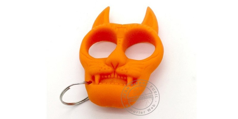 Poing américain porte clefs Chat - Orange