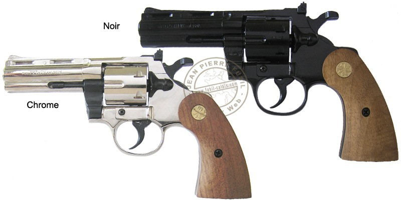 "KIMAR PYTHON 4"" blank firing revolver - Wooden stock - 9mm blank bore"