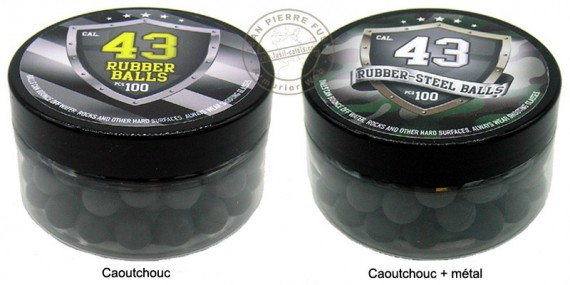 Box of 100 balls caliber .43 - Rubber or steel rubber