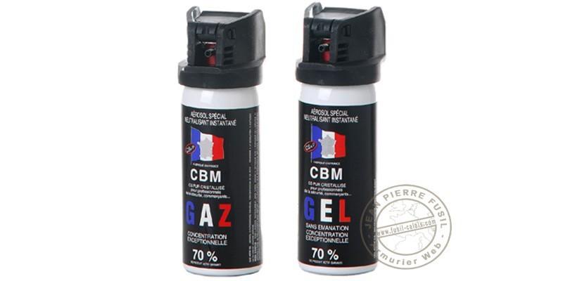 Lot de 2 bombes de défense 50ml Gaz CS + 50 ml Gel CS - PROMOTION
