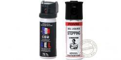 Lot de 2 bombes de défense 50ml Gel CS + 50 ml Gel Poivre - PROMOTION